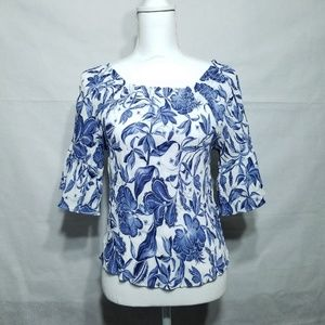 H&M Floral Blue Top Blouse